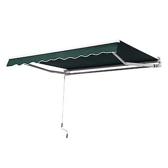 Outsunny 2.5m x 2m Garden Patio Manual Awning Canopy Sun Shade Shelter Retractable with Winding Handle Green NEW