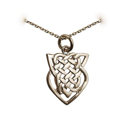 9ct Gold 20x17mm Celtic knot design Pendant with a cable Chain 16 inches Only Suitable for Children