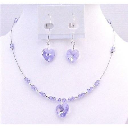 Heart Jewelry Set Valentine Inexpensive Gift Swarovski Violet Crystals