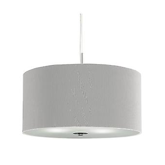 Drum Pleat Large Chrome Pendant With Glass Diffuser And Grey Shade - Searchlight 2356-60SI