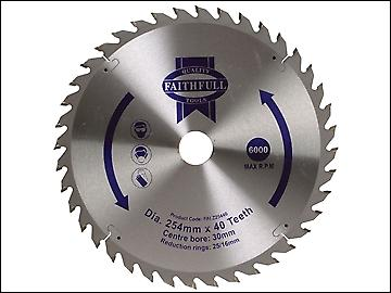 Faithfull Circular Saw Blade 254 x 16/25/30mm x 40T Fine Cross Cut