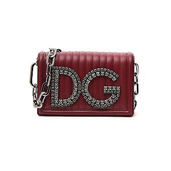 Dolce E Gabbana Burgundy Leather Clutch