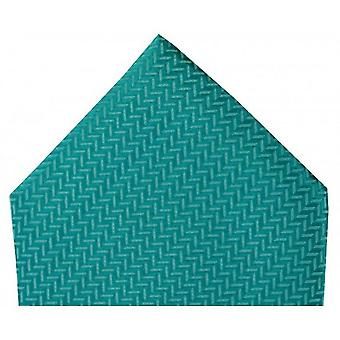 David Van Hagen Herringbone Silk Handkerchief - Teal