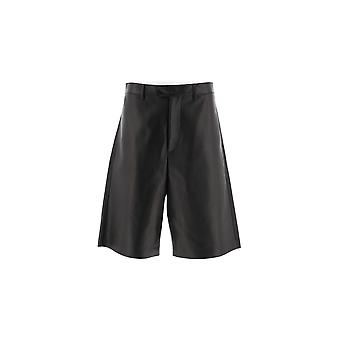 Bottega Veneta Black Leather Shorts
