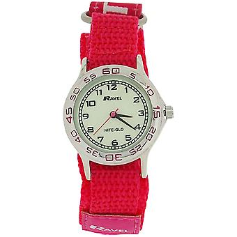 Ravel Girls Nite-Glo Quartz Luminous Dial & Pink Easy Fasten Watch R1708.5