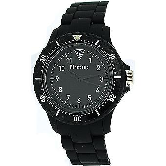 Firetrap Watch Unisex Analog Black Rubberised Metal Bracelet Strap FT1065B