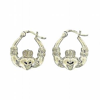 TOC Sterling Silver Claddagh Creole Hoop Earrings 20mm