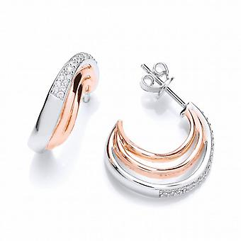 Cavendish French Cubic Zirconia, Silver and Rose Gold  Hooped Earrings