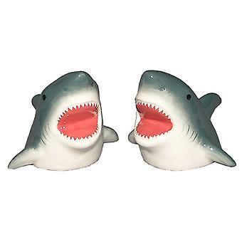 Shark Bite Funny Salt and Pepper Shakers Ceramic