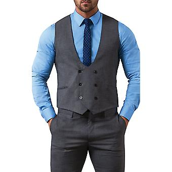 Avail London Mens Grey Waistcoat Slim Fit