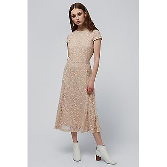 Louche Raphaella Peacock Feather Lace Dress Peach