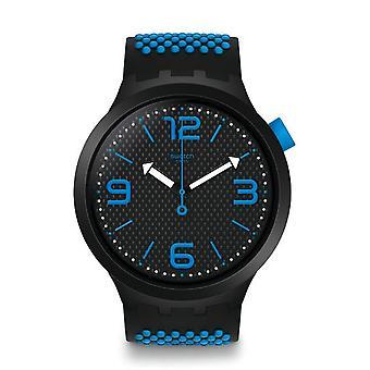Swatch So27b101 stor fet Bbblue svart & blå silikon klocka