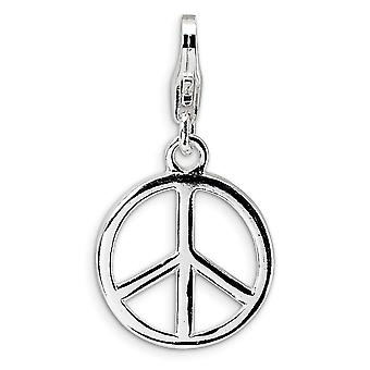 925 Sterling Silver Rhodium-plated Fancy Lobster Closure Small Polished Peace Sign With Lobster Clasp Charm - Measures 2