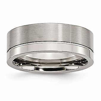 Titanium Engravable Grooved 8mm Brushed Polished Band Ring - Ring Size: 6 to 14