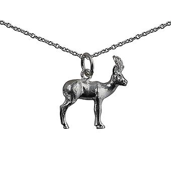Silver 20x15mm Antelope Pendant with a rolo Chain 14 inches Only Suitable for Children