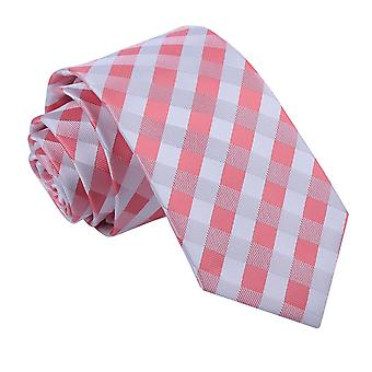 Gingham verifica corallo cravatta Slim