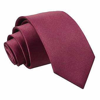 Boy's Burgundy Plain Satin Tie (8+ years)