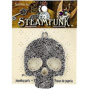 Steampunk Metal Pendant 1/Pkg-Large Floral Skull STEAM228