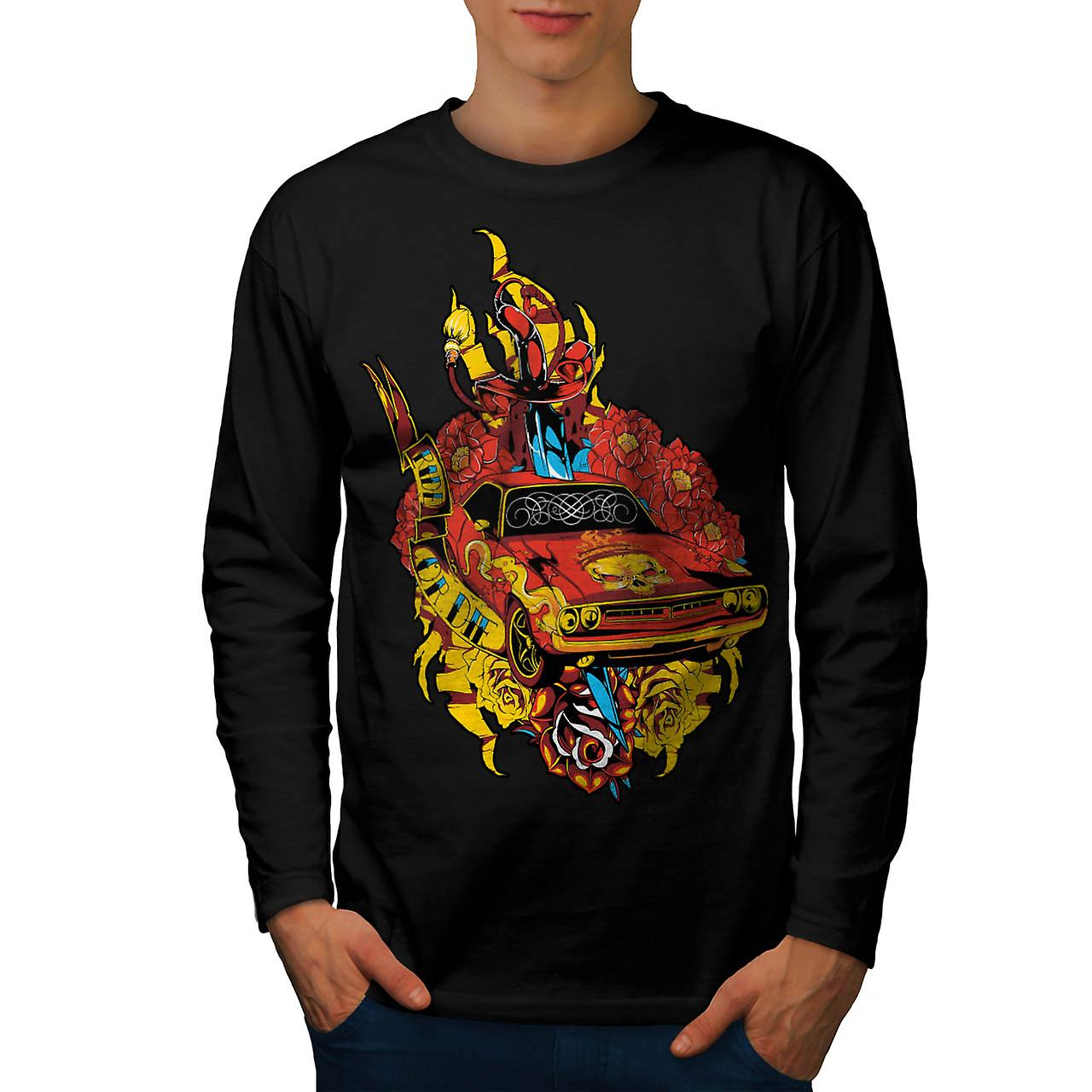 Die pride Auto Mobile Hell Ride Men Black Long Sleeve T-shirt | Wellcoda
