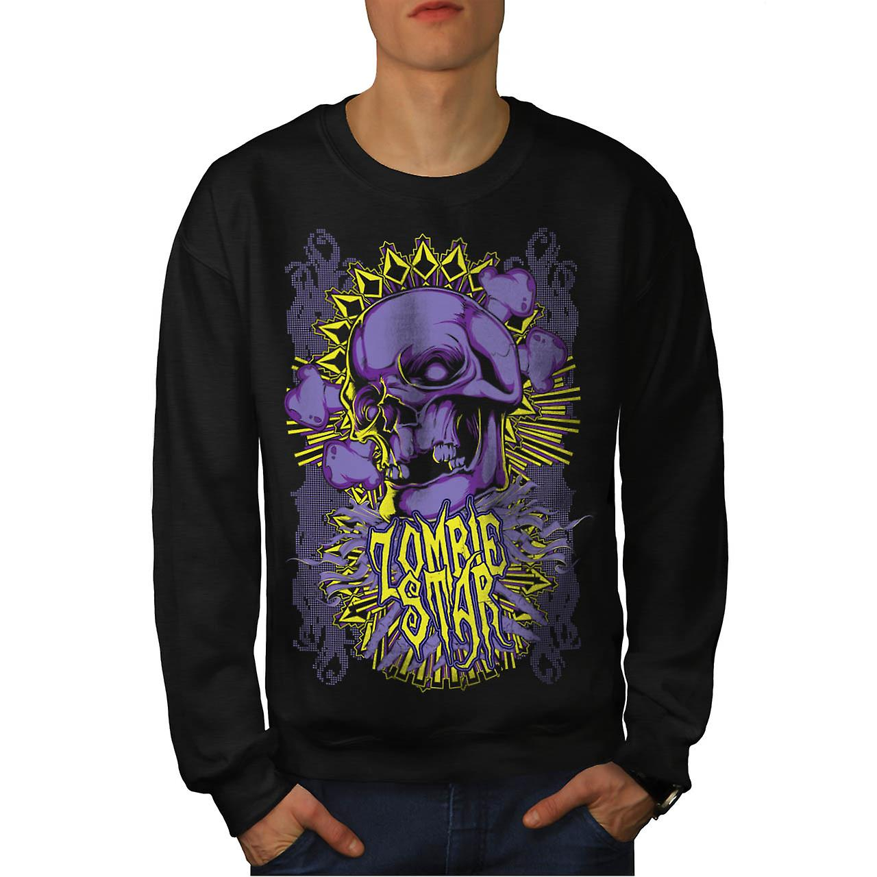 Monster Zombie Star Devils Zone Men Black Sweatshirt | Wellcoda