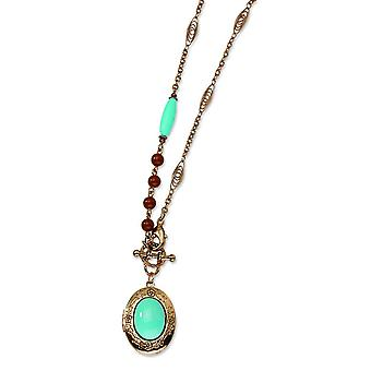 Copper-tone Aqua and Brown Beads 16inch Locket Necklace - 15.1 Grams