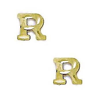 14k Yellow Gold Initial R Stamping Children Earrings - Measures 6x6mm