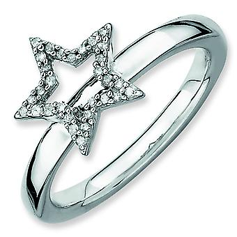 Sterling Silver Stackable Expressions Star Diamond Ring - Ring Size: 5 to 10