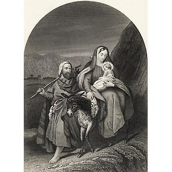 Flucht nach Ägypten von der nationalen illustrierte Familienbibel veröffentlicht C1870 PosterPrint