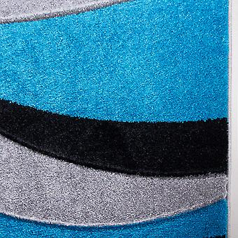 Contemporary Teal Blue & Black Wave Runner Rug - Rio