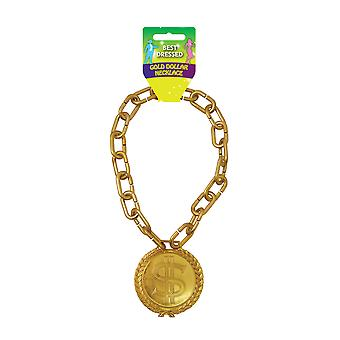 Gold Dollar Bling Necklace Fancy Dress Accessory