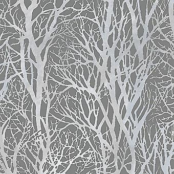 Woodland Wallpaper Trees Abstract Metallic Modern Grey Silver Paste The Wall