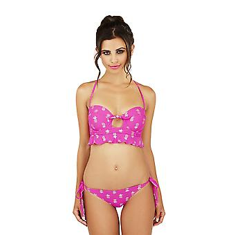 Boutique Ladies Fuschia and Silver Metallic Pineapple Print Bikini Set