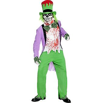 Costume of Evil Mad Hatter with top pants Hat shirt mask overshoes and HA size L