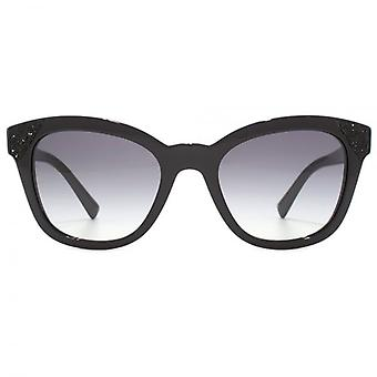 Valentino Glitter Detail Cateye Sunglasses In Black