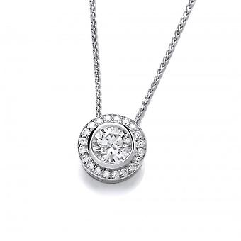 Cavendish franska CZ Surround Sterling Silver Solitaire hängande med 16-18