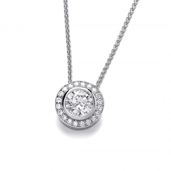Cavendish French CZ Surround Sterling Silver Solitaire Pendant without Chain