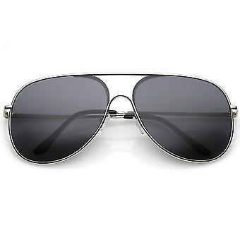 Classic Oversize Metal Aviator Sunglasses Semi Rimless Teardrop Flat Lens 62mm