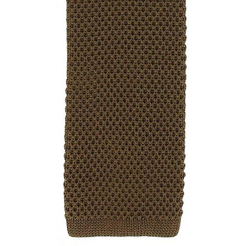 Michelsons of London Skinny Silk Knitted Tie - Brown