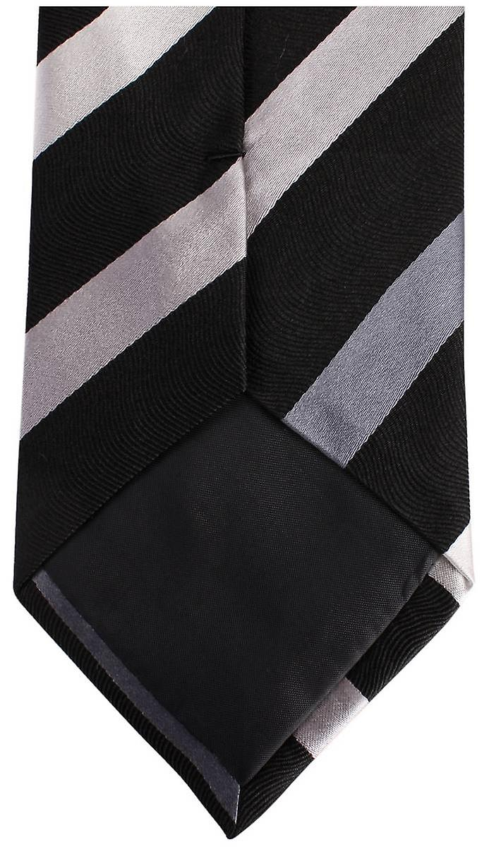 Knightsbridge Neckwear Kensington Diagonal Striped Silk Tie - Black/Grey