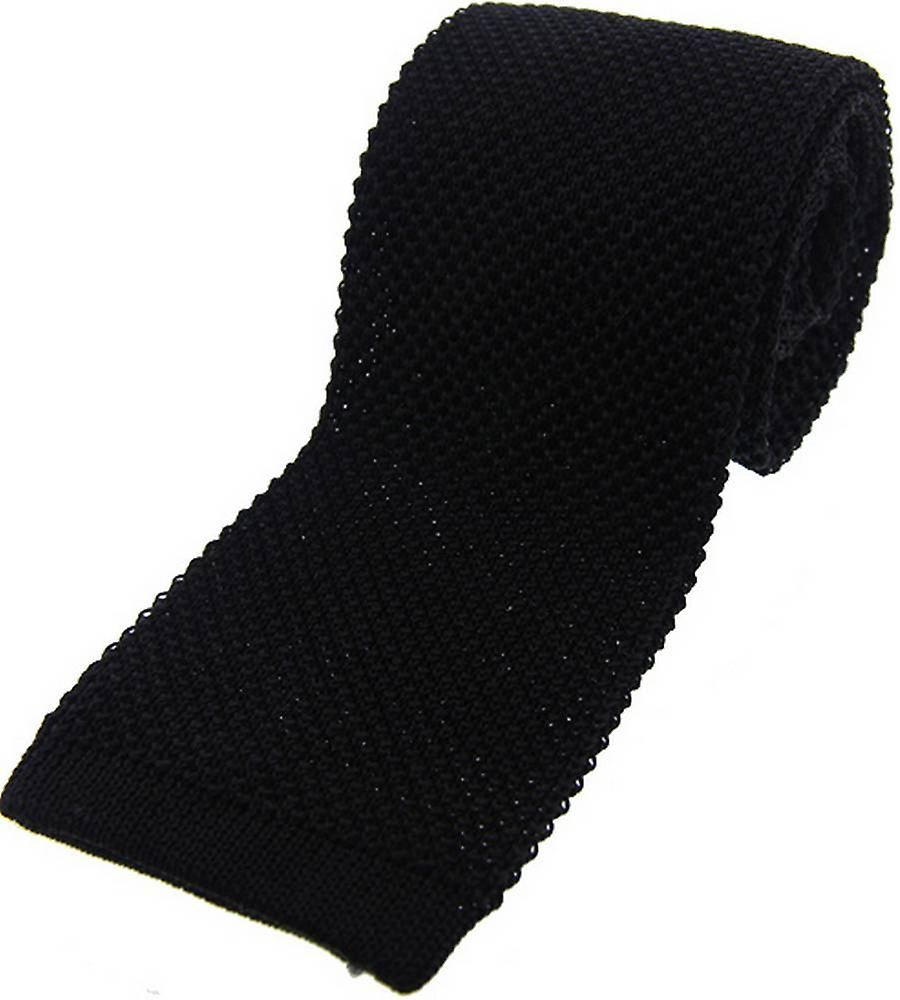 David Van Hagen Knitted Silk Tie - Black