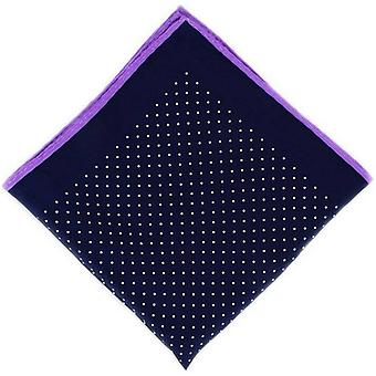 Michelsons of London Pin Dot with Border Silk Handkerchief  - Navy/Purple