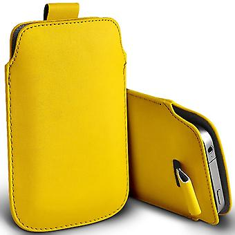 Pagdene R7 Slip In Pull Tab Faux Leather Pouch Case Cover (Yellow)