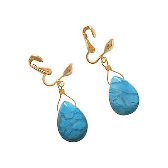 Clip earrings earring SUMMER with turquoise earrings gold plated