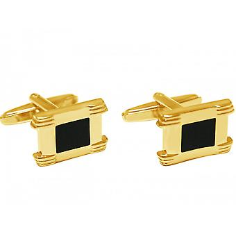 Men's cuff links stainless steel gold plated wedding fire enamel black-gold