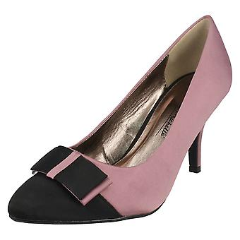 Ladies Anne Michelle Pointed Toe Court Shoe With Bow Detail