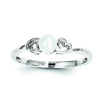 Sterling Silver Polished Open back Rhodium-plated Freshwater Cultured Pearl Ring - Ring Size: 5 to 10