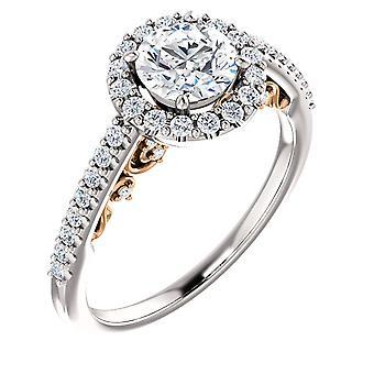 1ct Diamond Vintage forlovelsesring filigran 14k Rose hvitt gull