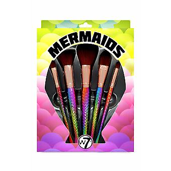 W7 5 Piece Professional Holographic Iridescent Mermaid Brush Collection