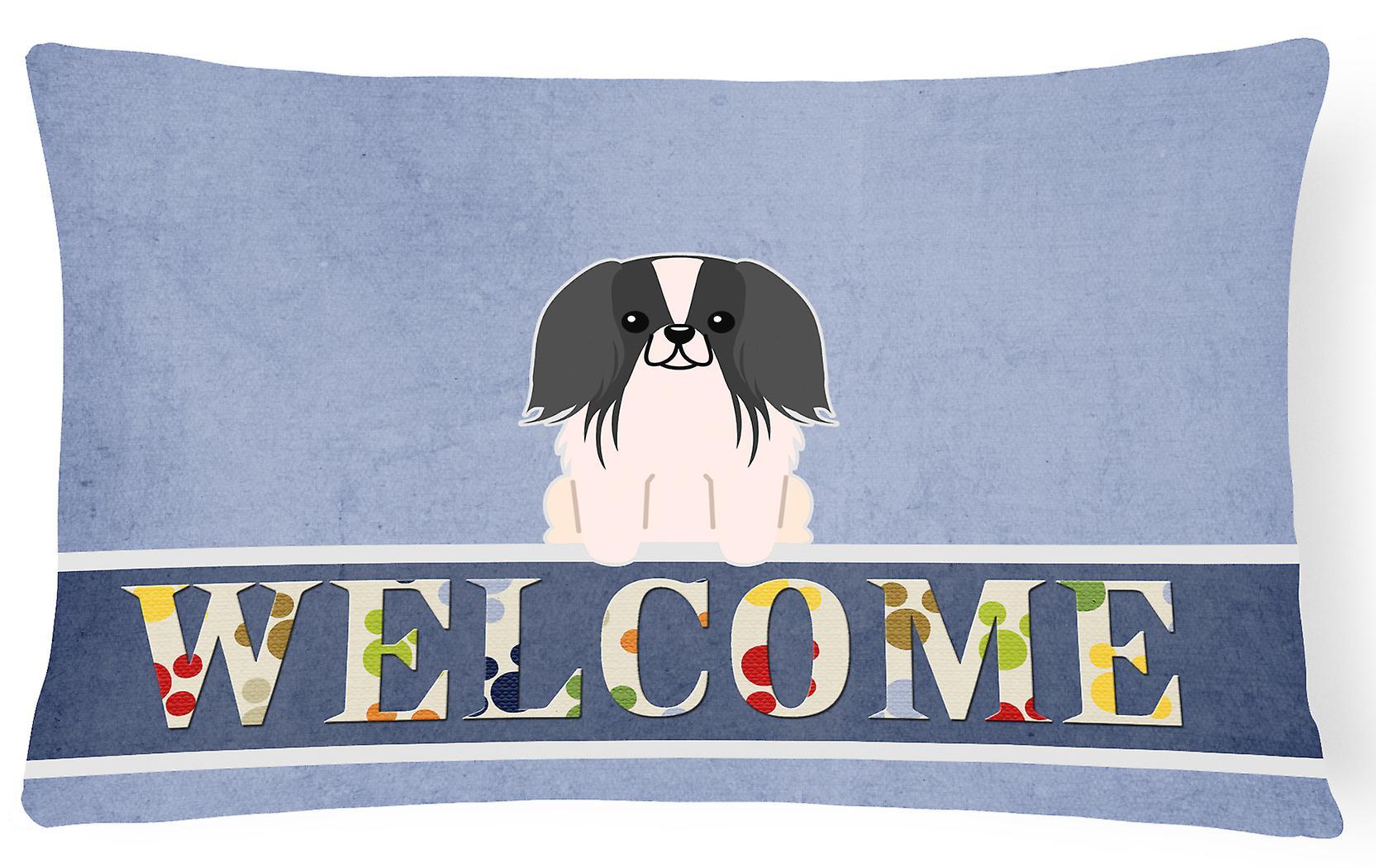 Tissu Oreiller Décoratif Noir Blanc Bienvenue Pekingnese Toile 4ALj35Rq