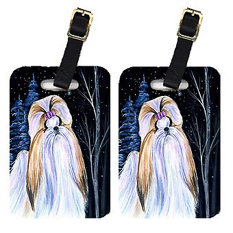 Carolines Treasures  SS8381BT Starry Night Shih Tzu Luggage Tags Pair of 2